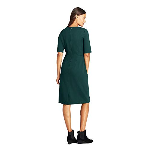 (Lands' End Women's Petite Ponte Knit Sheath Dress with Elbow Sleeves, 12, Rich Spruce)