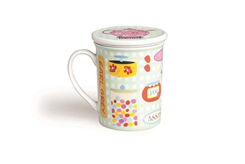 Excelsa - Taza para infusiones con Filtro y Tapa Sweet, Porcelana, Multicolor, 8x 10x 10cm