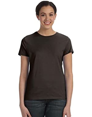 Hanes Ladies' 4.5 oz.; 100% Ringspun Cotton nano-TxFFFD; T-Shirt - DARK CHOCOLATE - S