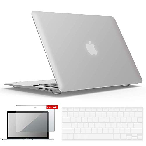 IBENZER MacBook Air 13 Inch Case, Soft Touch Hard Case Shell Cover with Keyboard Cover Screen Protector for Apple MacBook Air 13 A1369 1466 NO Touch ID, Clear, MMA13CL+2N