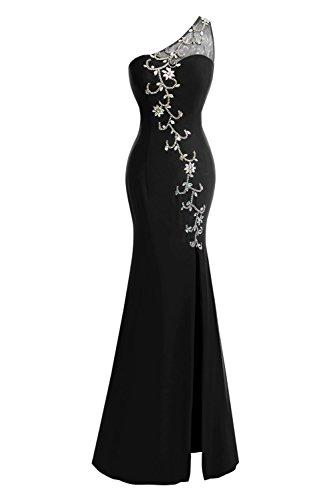 Fanciest Lang Damen Split Shoulder Champagne Ball Dresses Black Meerjungfrau Kleider One Kleider 1w1Cqnr