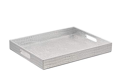 Stunning Glossy Silver Rectangle 18''X14'' Alligotor Croc Decorative Ottoman Coffee Table Serving Tray With Handles By Decor Trends For All Occasions (Table Coffee Tray Silver)