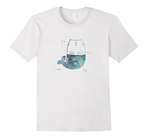 Mens MerKitty Mermaid Cat Seashell Turquoise Blue XL - Shell Cat Turquoise