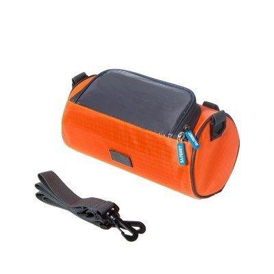 自転車フロントバッグ – ショルダーポータブルハンドルバーポーチ防水with携帯電話Iphone & Galaxyホルダー位置サイクリングの オレンジ