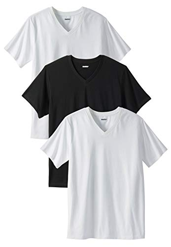 KingSize Men's Big & Tall Cotton V-Neck Undershirt 3-Pack, Assorted Black White Big-3XL