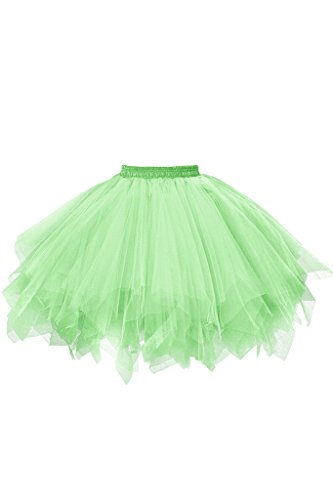 Musever 1950s Vintage Ballet Bubble Skirt Tulle Petticoat Puffy Tutu Light Green XX-Large/XXX-Large -