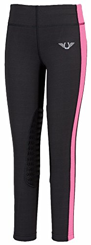 (TuffRider Children's Ventilated Schooling Riding Tights|Color-Charcoal/NeonPink|Size-Medium)