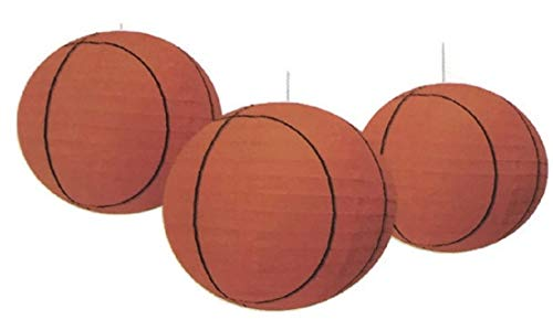 Sports Balls Paper Lanterns Basketball Set of Three for Party Decorations, Team Events, Sports Themed Parties, Home and Office Deco