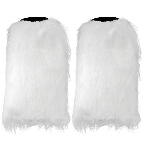 Skeleteen Boot Cuff Leg Warmers - Fluffy White Faux Fur Boots Warmer Cuffs for Women and ()
