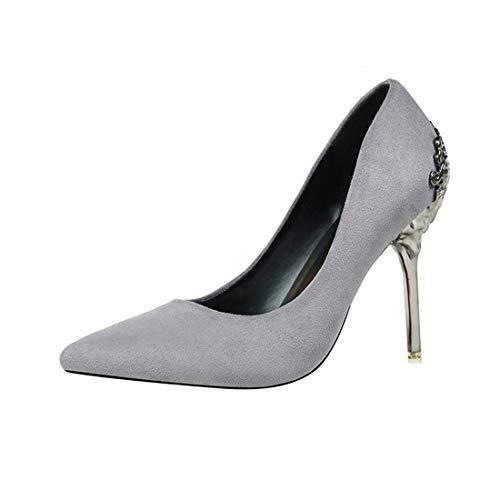 DANDANJIE Zapatos de Boda Helados de tacón Alto para Mujer Zapatos de Metal con Punta Hueca de Novia E