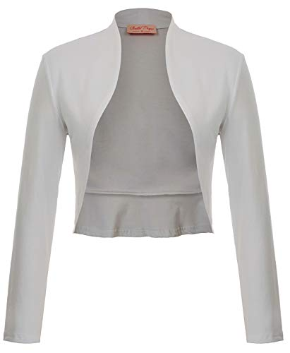 - Belle Poque Elegant White Shrug Jacket for Wedding Dress (S,Light Gray)