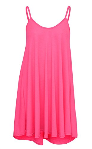 New Womens Plus Size Hanky Cami Swing Sleeve Less Vest Dress ( Neon Pink , UK 8-10 / EU 36-38 )