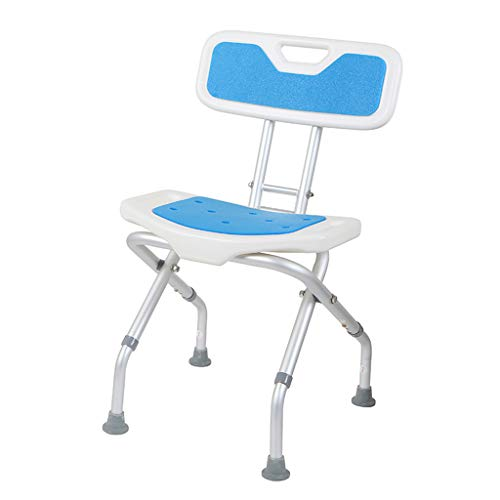 Folding Perching Stool with Backrest, Height Adjustable Shower Stool, Shower Aid Device for Bathing Assistance, Supportive Bath Chair