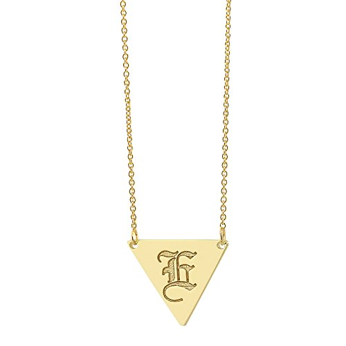 Soul Jewelry 14K Yellow Gold Dainty Triangle Disc PendantSolid Deep Laser Engraved Any Letter Font (18)