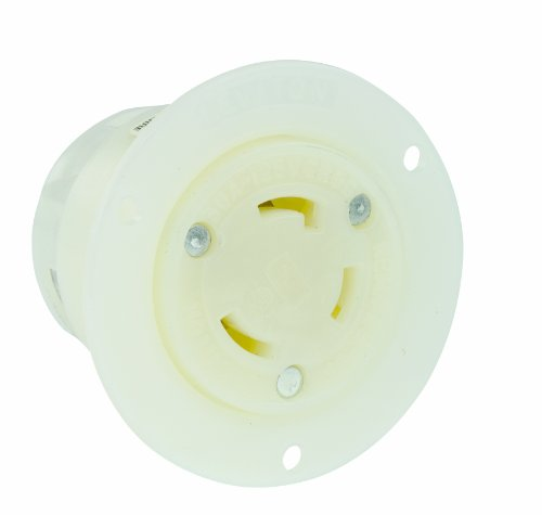 Leviton 2616 30 Amp, 125 Volt, Flanged Outlet Locking Receptacle, Industrial Grade, Grounding, White