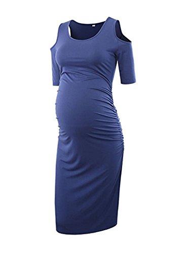 Vestir El Embarazo Fashion Bonita Vestido Premama Manga Corta Cuello Redondo Sin Tirantes Slim Fit Elegantes Embarazadas Vestido De Verano Vestidos De ...