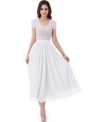 emondora Women's Chiffon Long A-line Retro Skirts Pleated Beach Maxi Skirt White Size XL ()