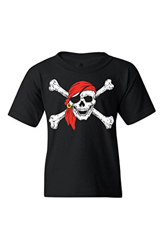 Shop4Ever Pirate Skull & Crossbones Youth's T-Shirt Pirate Flag Shirts Youth Small Black 11224]()