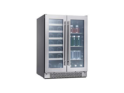Zephyr Presrv Dual Zone Wine & Beverage Cooler with Glass French Door. 24 Inch 5.15 cu/ft. Refrigerator for Under Counter, Wine Fridge, Beer Fridge, Compact Bar Fridge, Full-Size Beverage Center