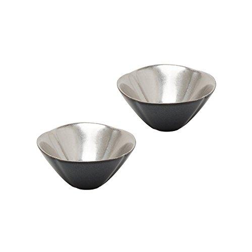 ARITA Ware Silver glaze Flower shape SAKE Cup 2 pieces