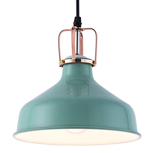 Mini Pendant Light with Metal Cone Shape Hanging Lamp with Turquoise Color Fit for Kitchen Island Living Room Bedroom Hallway Base for E26 Bulb Max 40W (Turquoise Lighting)