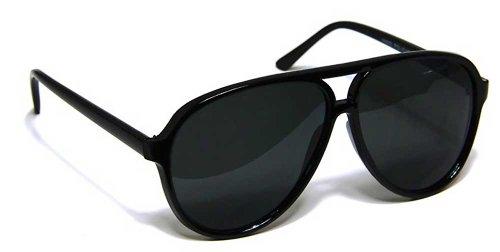 (Large Retro Style Polarized Lens Aviator Sunglasses Shades (Black))