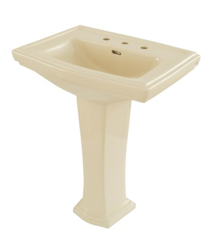 (TOTO LPT780.8#03 Clayton Lavatory and Pedestal with 8-Inch Centers, Bone )