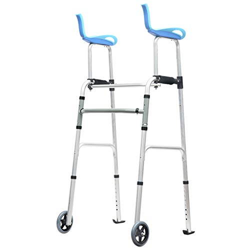 - Walkers Walker Foldable Walker Adjustable Walking Assist Equipped Wheels Equipped with Arm Rest Pad for The Elderly and People with Limited Mobility Bearing 100KG Blue