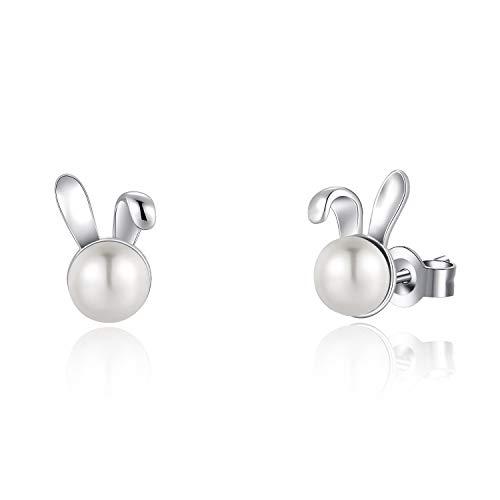 - FANCIME Sterling Silver Freshwater Pearl Stud Earrings Animal Rabbit Earrings Tiny Small Pearl Fine Jewelry for Women Teen Girls