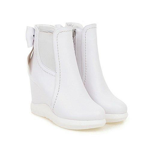 AllhqFashion Damen Niedrig-Spitze Hoher Absatz Rund Schließen Zehe Stiefel Weiß