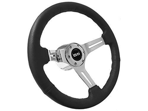 - 1969-1994 Chevy Super Sport S6 Black Leather Steering Wheel Chrome Kit | Silver SS
