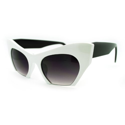 SA106 Unique Avant Garde Crop Bottom Gothic Cat Eye Sunglasses White - Sunglasses Avant Garde