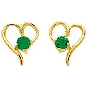 So Chic Bijoux © Boucles d'oreilles Femme Puces Coeur Fin Ajouré & Emeraude Vert Or Jaune 750/000 (18 carats)