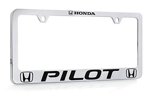 - Honda Pilot Wordmark Chrome Plated Zinc Metal License Plate Frame Holder Wide Bottom Engraved 2 Hole