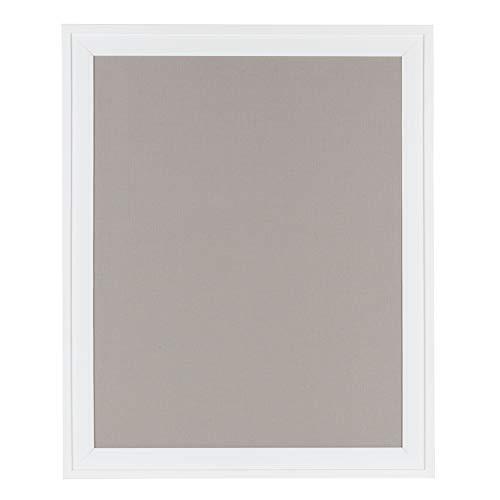 DesignOvation Bosc Framed Gray Linen Fabric Pinboard, 23.5x29.5, White