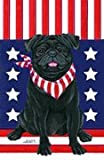 Pug Black by Tomoyo Pitcher, Patriotic Themed Dog Breed Flags 28 x 40 For Sale