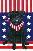 Pug Black by Tomoyo Pitcher, Patriotic Themed Dog Breed Flags 28 x 40