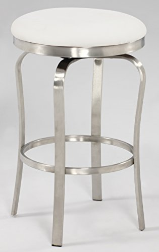 Chintaly Imports 1193 Modern Backless Counter Stool, Brushed Stainless Steel White PU