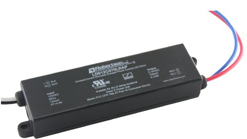 ROBERTSON 3P30011 LD012C070LRAP LED Driver, 12 Watt, 120Vac. Input, 700 mA Constant Current, 8-16Vdc Output, High Power Factor, Forward Phase Dimming 100% - ()