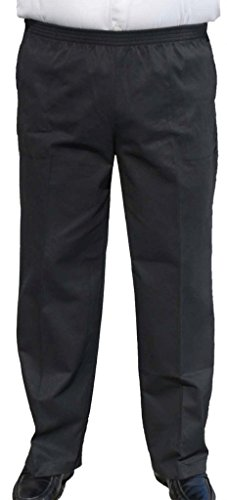 (CK Sportswear The Senior Shop Men's Full Elastic Waist Twill Casual Pant L/30 Black)