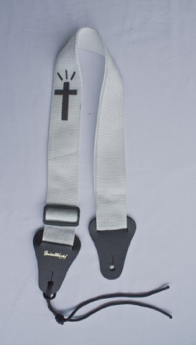 Christian Guitar Strap WHITE NYLON WITH BLACK CROSS Solid Le