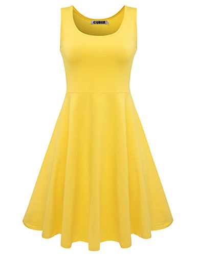CUBEA Women Basic Cotton Tank Sleeveless Flared Mini Dress Medium Yellow (Yellow Casual Dress)