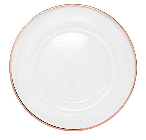 Clear Glass Charger 13 Inch Dinner Plate With Metallic Rim - Set of 4 - Rose ()