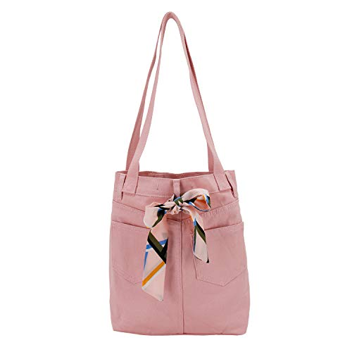 ASK 4 JEANS Denim Twill Canvas Jeans Purse Totes Shoulder Hand bags For Women -Skirt Look Rose Base Pearl trims and Bow Tie ()