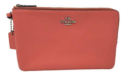 Coach Pebble Leather Double Zip Large Wristlet Wallet Coral 2 F87587