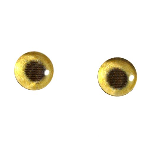 (8mm Glass Eyes Gold Tone Metallic Pair Taxidermy Sculptures or Jewelry Making Crafts Set of 2 )