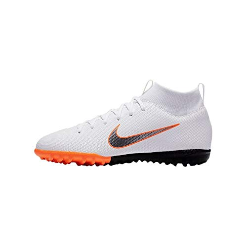 Nike Junior SuperflyX 6 Academy Turf Shoes (5.5 M US Big Kid) White/Grey (Shoes Indoor Nike Turf)