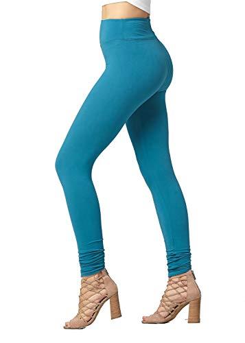 (Soft High Waisted Leggings for Women - Full Length Teal Blue - Large/X-Large (12-22) - Plus)