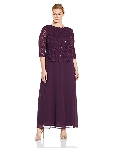 Size Deep with Plus Lace Plum Sleeves Alex Dress Mock Long Evenings Women's qaH6vSZ