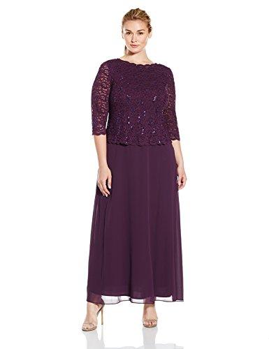 Alex Evenings Women's 20W Plus Size Long Tea-Length Lace Mock Dress, Deep Plum, 20W (Best Plus Size Mother Of The Bride Dresses)